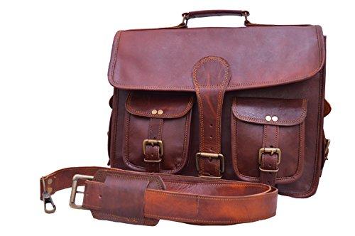 15 Inch Vintage Handmade Leather Messenger Bag for Laptop Briefcase Best Computer Satchel School