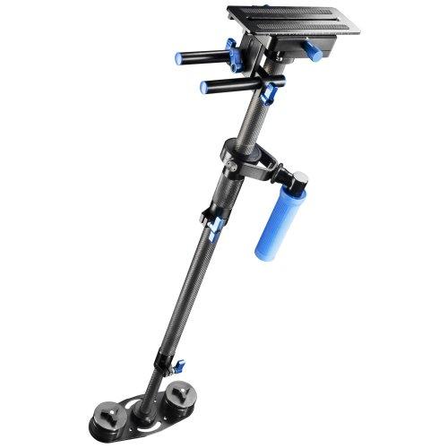 Walimex Pro StabyPod L Schwebestativ Steadycam zur Stabilisierung von DSLR-Kameras (Größe max.120 cm, Carbon, Schnellwechselplatte, 15mm Rods, Gegengewichte)
