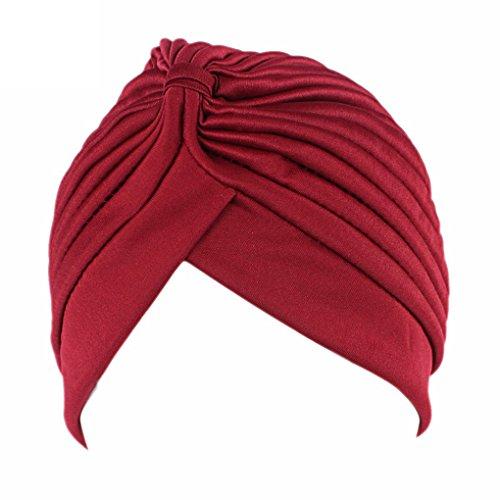 QHGstore femminile Chemo pieghe Pre Legato capo Cover Up Knit Bonnet Sun Turbante Cap vino rosso
