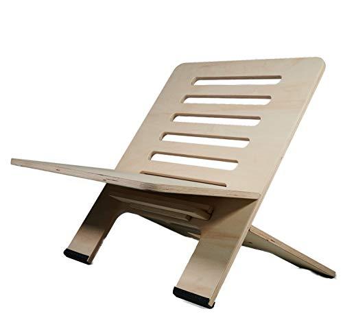Soporte de escritorio ajustable en altura para trabajar de forma ergonómica en la oficina en casa (madera)