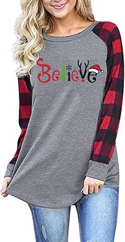 Christmas Believe Shirt Cute Santas Hat Graphic Tee 3/4 Sleeve Raglan Christmas Shirts Tops for Women (XX-Large, Plaid)