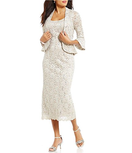 RM Richards Women's Sequin Lace Midi Dress with Jacket - Mother of The Bride Wedding Dresses (18, Champagne) (8, Champagne)