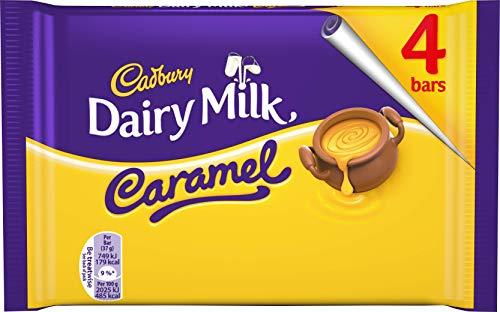 Cadbury Caramel Riegel - Snacks für unterwegs - Leckere Englische Schokolade, 4er Pack (4 x 37 g) 47687