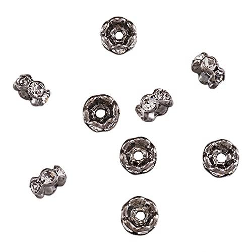 PandaHall 200 cuentas espaciadoras Rondelle con diamantes de imitación de 4 mm chapado en bronce de cristal transparente para collares, pulseras, joyería, borde ondulado