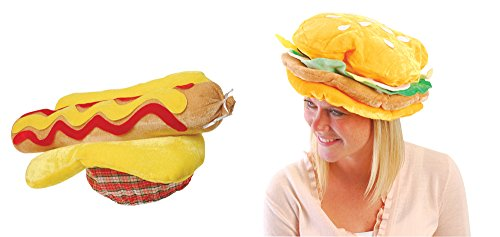 USToy Plush Hot Dog & Hamburger Hat Bundle Set