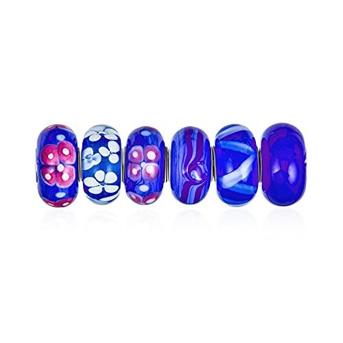 Conjunto mixto de paquete .925 sterling silver core translúcido sombras de lámparas de vidrio murano azul 3DFlower charm bead spacer se adapta a la pulsera europea para mujeres adolescentes