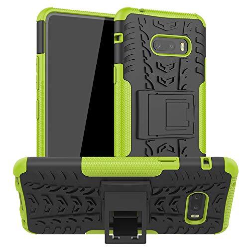 LiuShan Kompatibel mit LG G8X ThinQ Hülle, Dual Layer Hybrid Handyhülle Drop Resistance Handys Schutz Hülle mit Ständer für LG G8X ThinQ/LG V50S ThinQ 5G 2019 Smartphone,Grüne