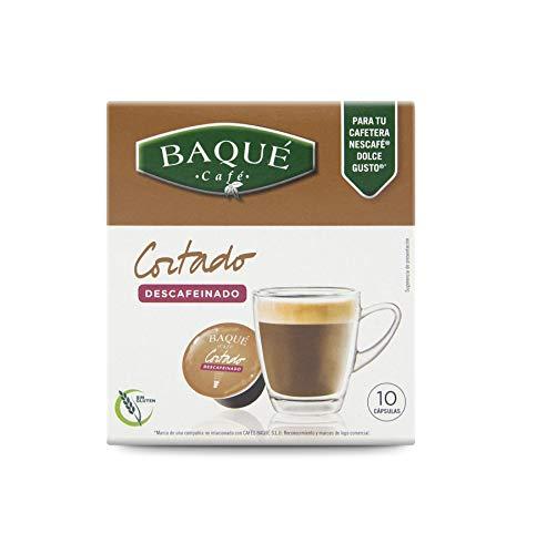 Cafés Baqué Cápsulas Compatibles Dolce Gusto Café Cortado Descafeinado, 40 Cápsulas, Pack de 1