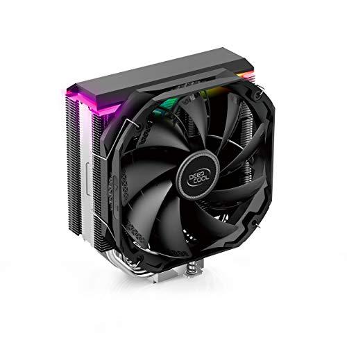 DEEP COOL AS500, Dissipatore di Calore per CPU, Raffreddamento ad Aria a 5 Heatpipes, con Ventola PWM TF140S Silenziosa, Cappuccio RGB Indirizzabile.