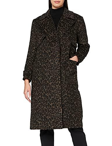 Marca Amazon - find. Luxury Trench - Abrigo Mujer, Marrón (Brown Leopard), 40, Label: M