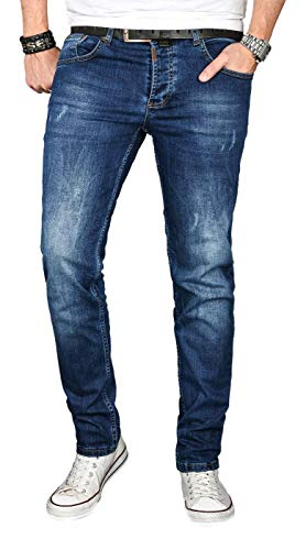 Designer Herren Jeans Hose Regular Slim Fit Jeanshose Basic Stretch [AS-052 - W34 L36] , Dunkelblau Used