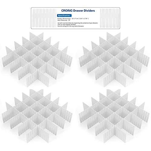 CROING - 32 Stück Weiß - Schubladeneinteiler Schubladenteiler Schubladenraster Fachteiler