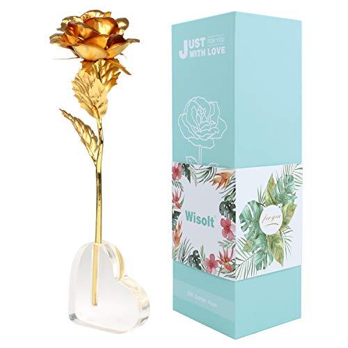 Wisolt 24K Gold Rose, Neue verbesserte Lange Stem Gold Foil Rose mit herzförmigen Display-Ständer, einzigartige Geschenke für sie, Mädchen, Frau, Mama(Gold)