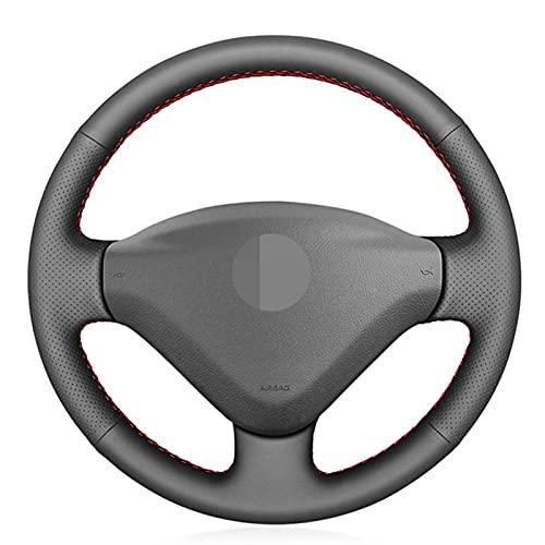 QSONGL Fundas para Volante para Peugeot 207 2006-2014 Expert 2008-2016 Partner 2009-2018, para Fiat Scudo 2010-2016 DIY Artificia Funda de Cuero para Volante de Coche