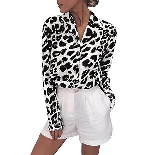 YSFWL Leopard Reverskragen Hemd Damen Langarmshirt Klassisch Button Down Bluse Oberteile 3D Aufdruck Leopard Print Tunika TäGlicher Casual Hemd Business Street Wear