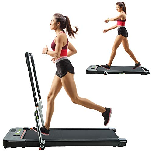 Real Relax 2 in 1 Folding Treadmill, Under Desk Pad Machine, 2.25HP Motorized Walking Treadmill with LED Screen, Bluetooth Speaker and Remote Control, Indoor Fitness, for Home Walking & Running