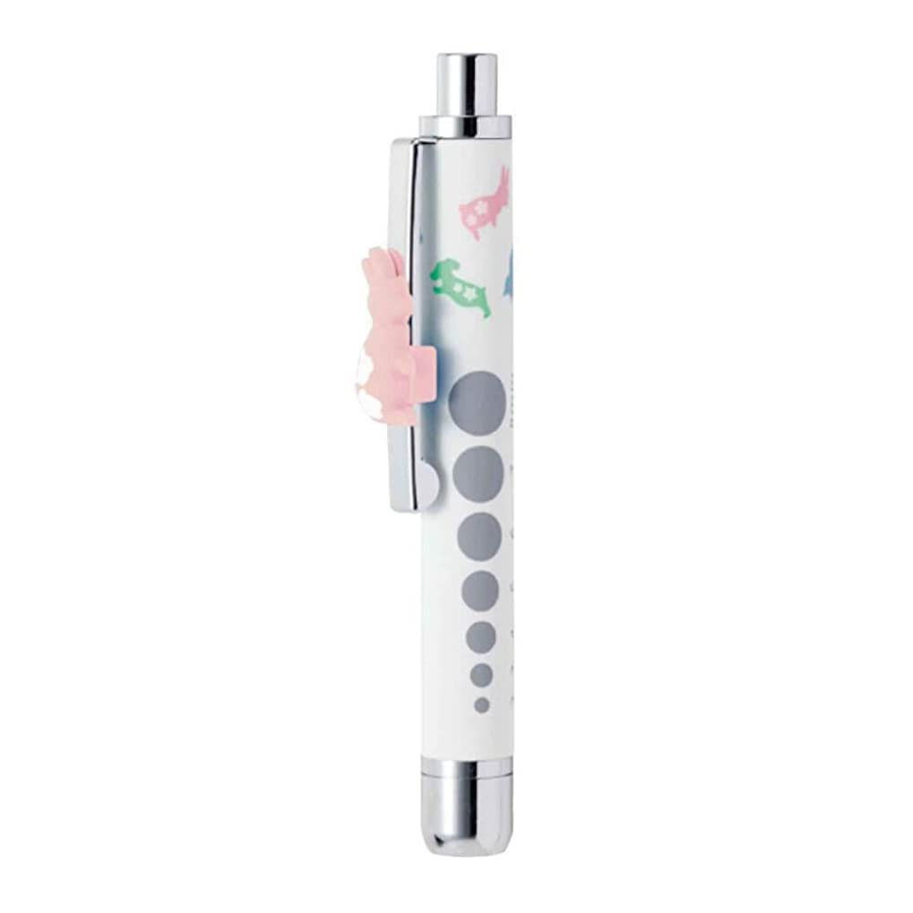 草ライオンボット[アンファミエ] ラバー調 LEDペンライト アニマル柄 クリップアクセサリー付 (ショート) ホワイト
