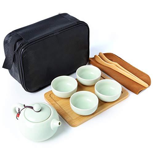 Kneokuo 100% Handmade Chinese/Japanese Kungfu Gongfu Tea Set - Porcelain Teapot & Teacups & Bamboo Tea Tray & Tea clip & rag with a Portable Travel Bag (green,9 piece set)