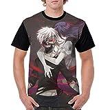 Men's Comfort Soft T-Shirt Ken Kaneki Rize Kamishiro Tokyo Ghoul Anime Crewneck 3D Short Sleeve Tee Tops Pullover Breathable T-Shirt for Sports Street Wear Vacation Large