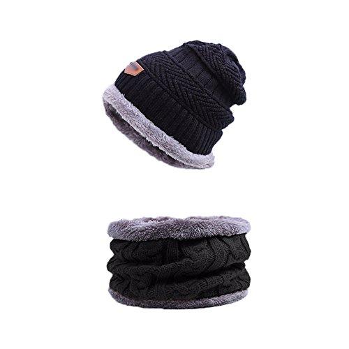 Kinderen Warm gebreide hoeden & sjaal set sportkleding winter mutsen gebreide muts hoofddeksels hoofdbanden skiën hoed herfst buiten sport cap hals geluiddemper set met inside pluche