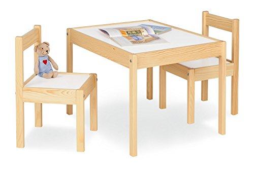 Pinolino Olaf - Juego de mesa y 2 sillas infantiles (parcialmente macizo, mesa de 64 x 50 x 46 cm, sillas de 28 x 30 x 51 cm, ideal para manualidades), color blanco y natural