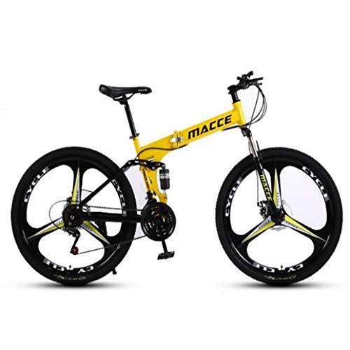 RPOLY 24 Velocidad Bicicleta de Montaña Plegable, Doble Freno de Disco, Bicicleta Plegable/Unisex, Variable Fuera de la Carretera Velocidad de la Bicicleta,Yellow_24 Inch