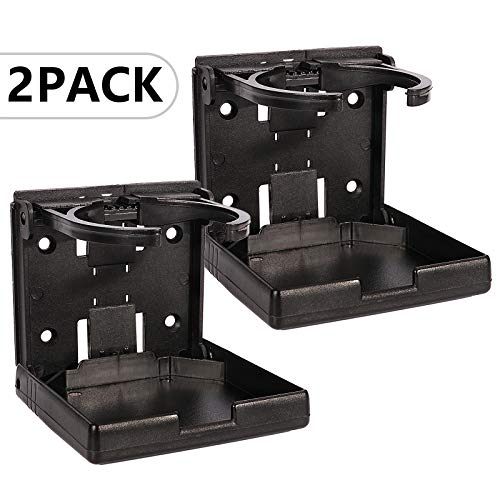 Spurtar 2 soportes plegables ajustables para la mayoría de tamaños de tazas, portavasos para coches, camiones, caravanas, furgonetas, barcos o caravanas, color negro