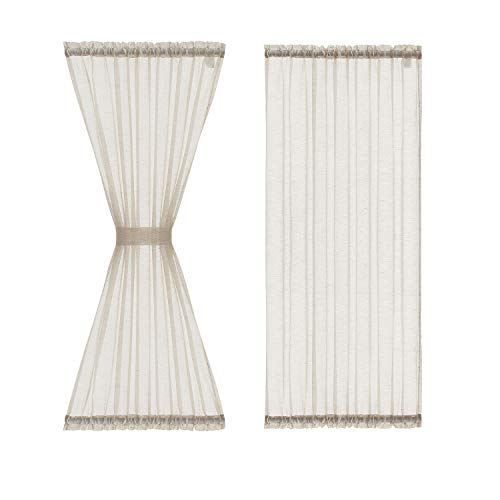 """Fmfunctex Sheer French Door Curtain Panels 72"""" Long Flax Linen Double Window Draperies for Front Sliding Glass Door Tiebacks Attached 2 Pack Natural 52"""" Wide"""