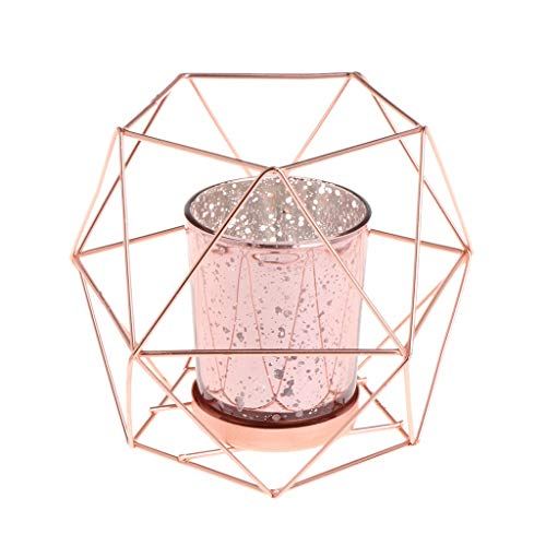 Wanfor 3D-Kerzenhalter, geometrisch, Metall, für Hochzeit, Heimdekoration, 3 Farben (Roségold)