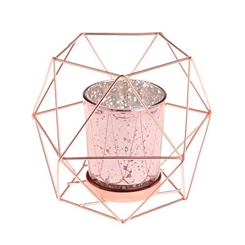 Fogun - Candelabro geométrico en 3D, estilo nórdico, portavelas de metal para decoración de boda