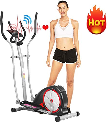 ANCHEER Elliptical Machine, Elliptical Exercise Machine for Home Use Magnetic Smooth Quiet Driven with LCD Monitor and Pulse Rate Grips (Gray)