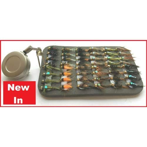 Troutflies UK Patch Sets 48 Goldhead Forellenfliegen mit Zinger und Fliegenflicken, gemischte Größe 10/12/14