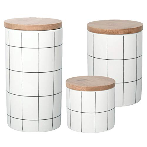 OnePine 3er Set Vorratsdosen Keramik mit Bambusdeckel Vorratsdose Kaffeedose Teedose - Keramik Gittermuster Aufbewahrungsdosen für Tee Kaffee Bohne Zucker Gewürz Nüsse Korn