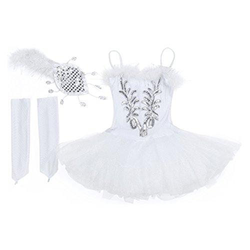 dPois Vestido Maillot de Ballet Danza para Niña Tutú Ballet Princesa Vestido Lentejuelas Brillantes + Guantes + Clip Vestido de Patinaje Artistico Disfraz Traje Bailarina Blanco A 4-5 años