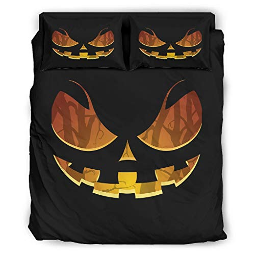 WJunglezhuang Halloween Smile Duvet Cover Sets 4 Pcs Polycotton Quilt Bedding Set Soft Multi Colour Duvet Cover Sets With Pillowcases And Bed Sheet for bed King Easy to Care white 175x218cm