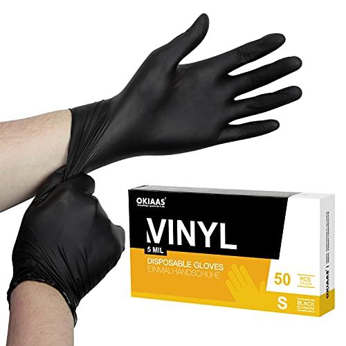 OKIAAS Einweghandschuhe Schwarz S, Vinyl Einmalhandschuhe Puderfrei, 5 mil, 50 Stück, Tattohandschuhe Latexfrei Handschuhe Einweg für Kochen, Grill, Putzen