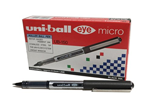 Penna rollerball UB-150 Eye Micro, inchiostro nero Uni-ball Super Ink, pennino da 0,5 mm, scatola da 12 pezzi
