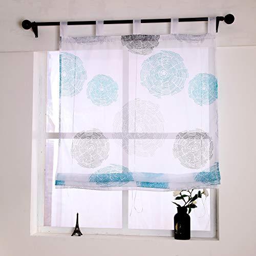 Yujiao Mao Estor de voile con estampado de círculos, cortina transparente azul 140 x 150 cm