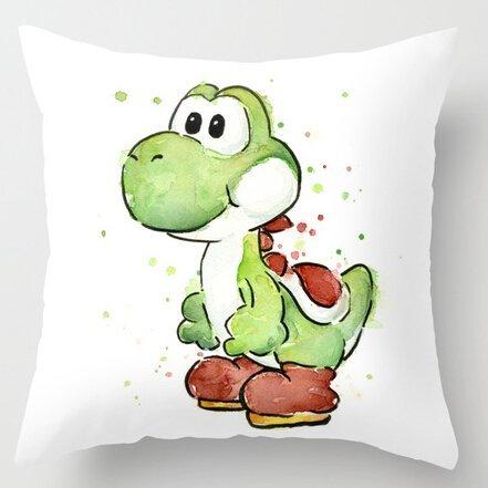 Juego de ropa de cama de estilo único y divertido Yoshi, funda de almohada decorativa para el hogar, funda de almohada cuadrada con cremallera, 45,7 x 45,7 cm