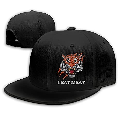 I Eat Meat Carnivore Angry Tiger Meat Eater Hat Flat Bill Visor Classic Snapback Hat Blank Adjustable Brim High Top End Baseball Cap Men and Women Black