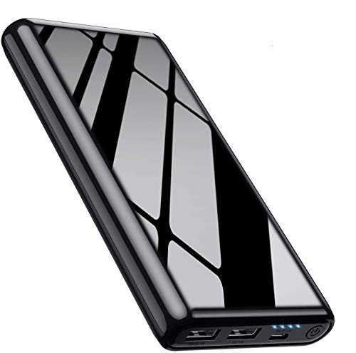 Feob 26800mAh Power Bank Portable Charger【Cool Shiny Black Color】Generic Power Pack [DUAL OUTPUT USB - SIMULTANEOUS CHARGING] External Battery Pack for iPhone Samsung Mobile Phones