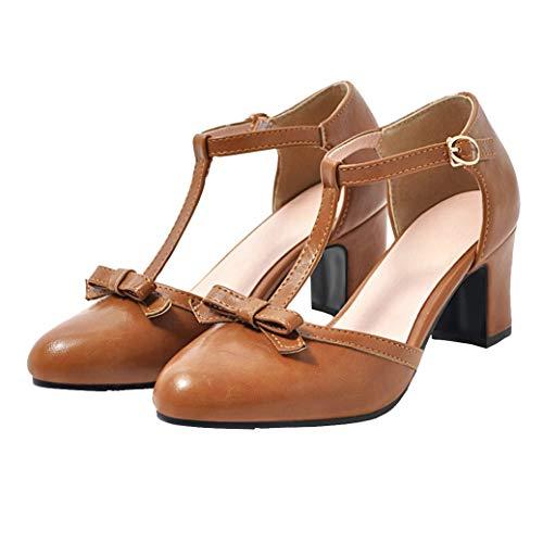 Femany Damen T Spangen Pumps mit Blockabsatz und Riemchen Schleife 6cm Absatz Schuhe (Braun,41)