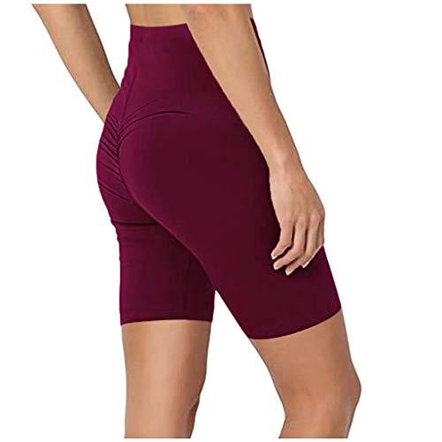 Fenverk Damen Hohe Taille Yoga Sporthose Shorts Capri Fitness Dünne Hosen Schnell Trocknende Trainieren Mit Taschen Elastische Tanzen Workout Leggings,High Waist Leggings(B Wein,XXL)