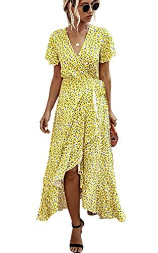Spec4Y Damen Boho Lange Kleider V-Ausschnitt Sommerkleider Kurzarm Wickelkleid Maxikleid Strandkleid mit Schlitz 033Gelb XL