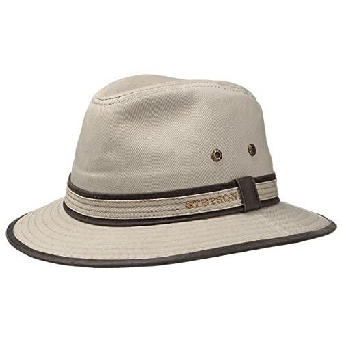 Stetson AVA Cotton UV-Schutz Stoffhut - Sonnenhut Herren/Damen - Hut aus Baumwolle - Traveller Frühjahr/Sommer - Sommerhut beige S (54-55 cm)