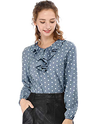Allegra K Damen Langarm Rundhals Volant Polka Dots Top Bluse Blau Grau M