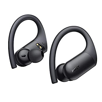 AUKEY True Wireless Earbuds Sports Bluetooth Earbuds with Earhooks Wireless & USB-C Charging in-Ear Detection aptX HiFi Sound & CVC 8.0 Mics IPX8 Waterproof 35H Playtime for Running Workouts