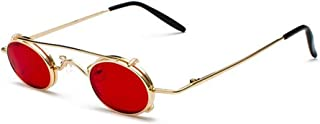 Small Round Steampunk Sunglasses Men Women Retro Metal Clip On Steam Punk Sun Glasses For Male Vintage Gothic Goggles 1304R