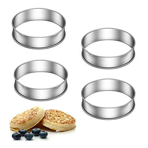 Crumpet Rings Set of 4 Non Stick Cake Rings Double Rolled Dessert Tart Rings for Poaching Eggs, Making Perfect English Muffin Crumpets
