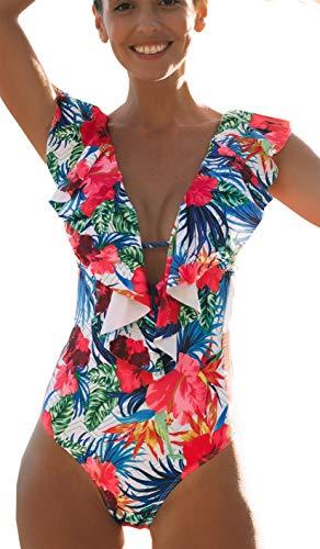 SPORLIKE Women One Piece Swimsuit V-Neck Ruffle Bathing Suit Monokini(Floral/White,M)